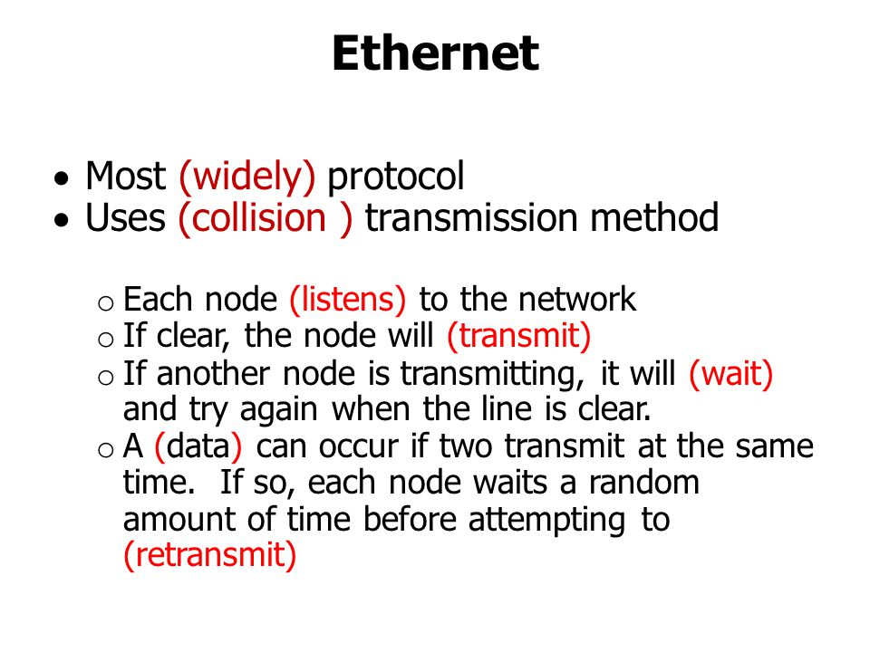 Ethernet Most (widely) protocol Uses (collision ) transmission method