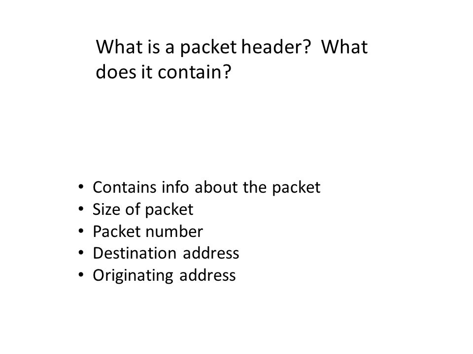 What is a packet header What does it contain