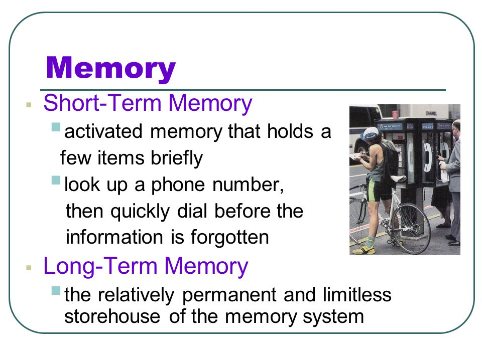 Memory Short-Term Memory Long-Term Memory