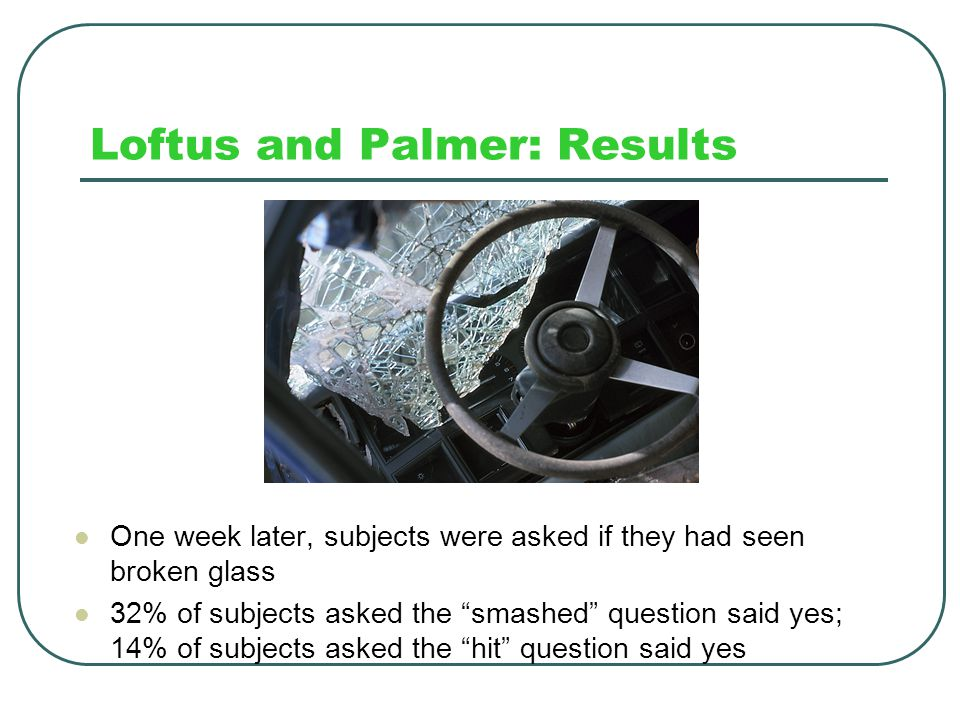 Loftus and Palmer: Results