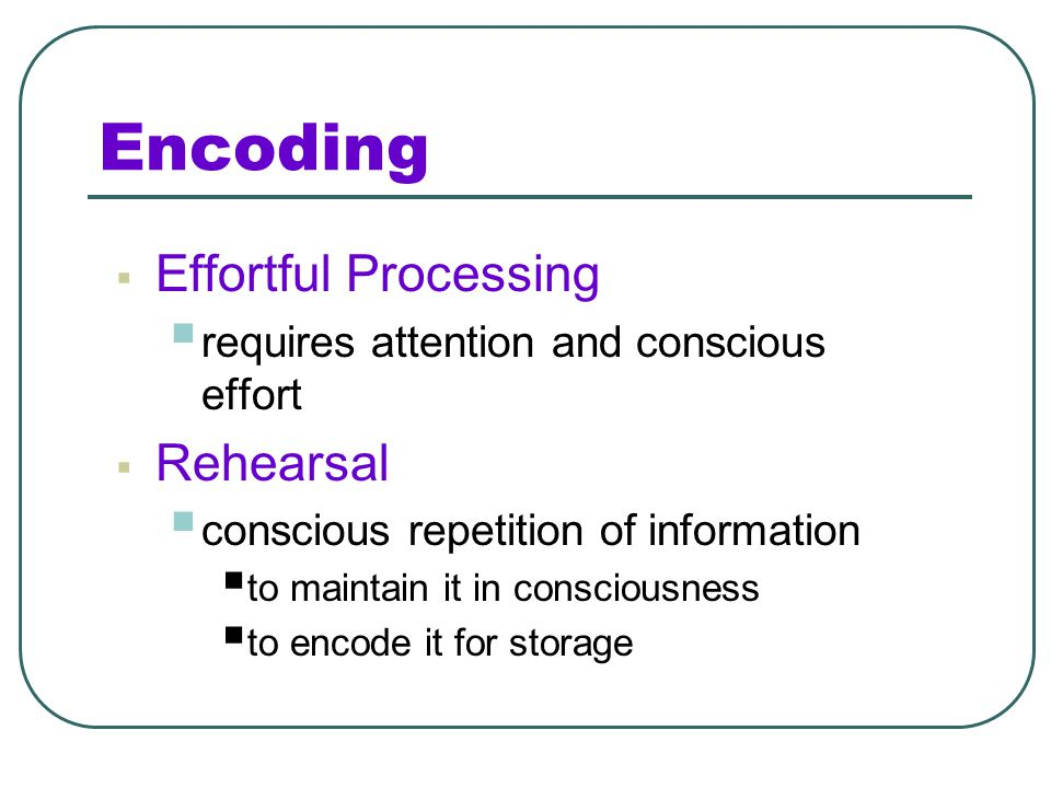 Encoding Effortful Processing Rehearsal