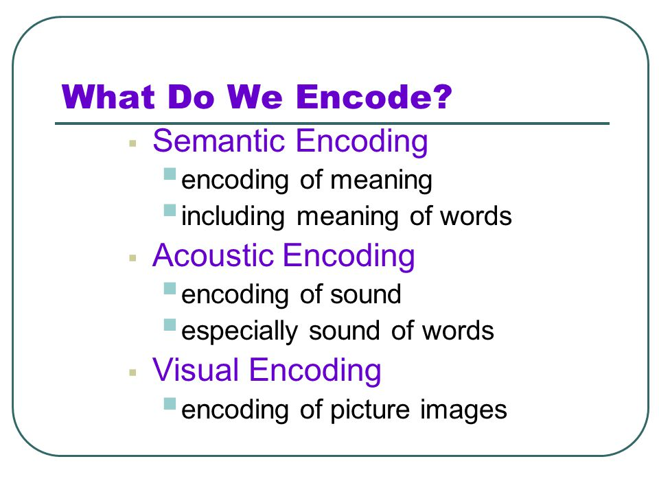 What Do We Encode Semantic Encoding Acoustic Encoding Visual Encoding