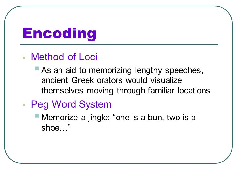 Encoding Method of Loci Peg Word System