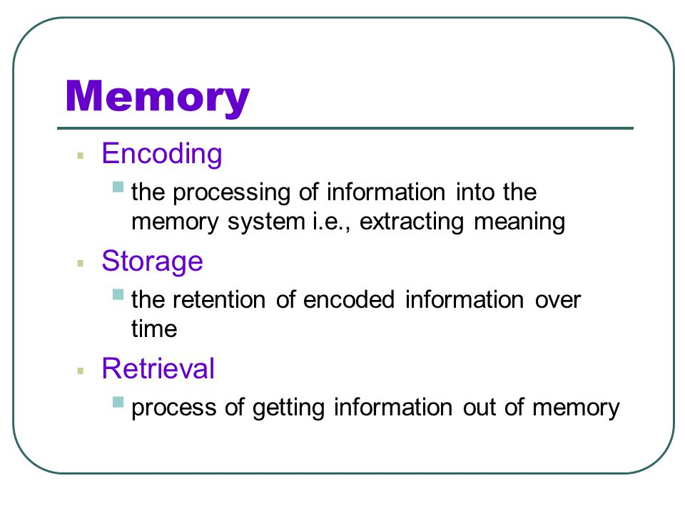 Memory Encoding Storage Retrieval