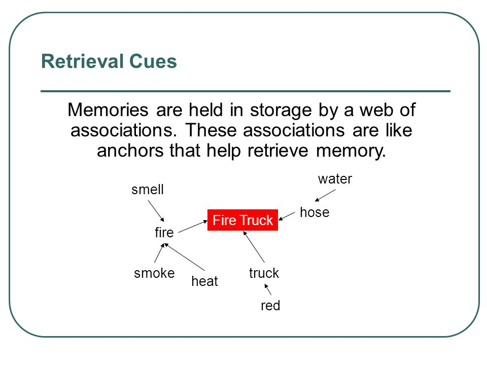 Retrieval Cues Memories are held in storage by a web of associations. These associations are like anchors that help retrieve memory.