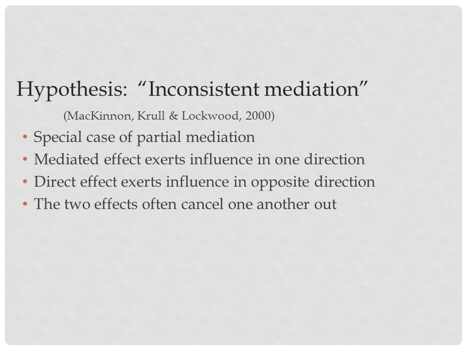 Hypothesis: Inconsistent mediation