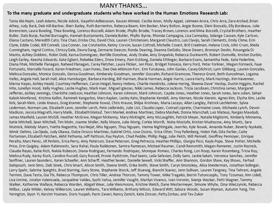 MANY THANKS... To the many graduate and undergraduate students who have worked in the Human Emotions Research Lab: