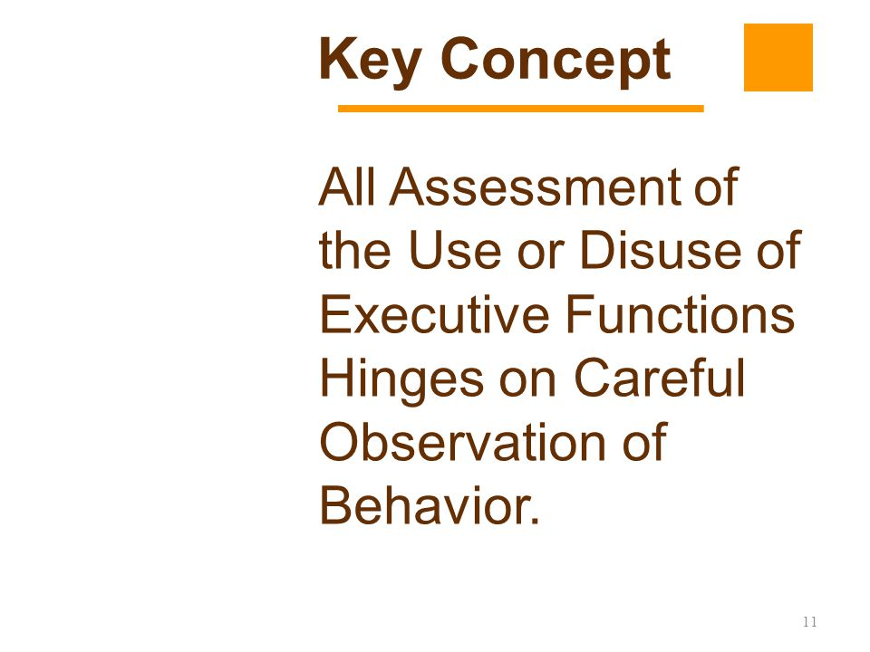 Key Concept All Assessment of the Use or Disuse of Executive Functions Hinges on Careful Observation of Behavior.