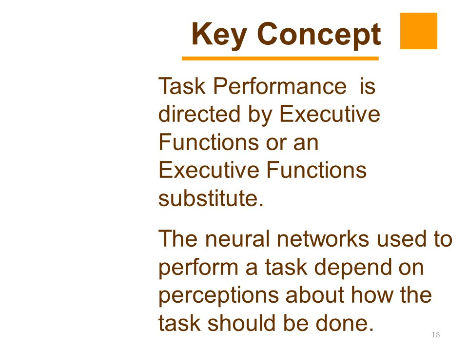 Key Concept Task Performance is directed by Executive Functions or an