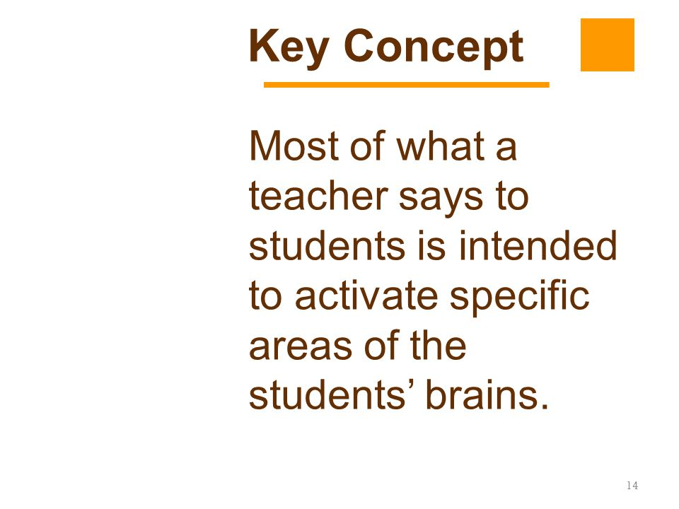 Key Concept Most of what a teacher says to students is intended to activate specific areas of the students' brains.