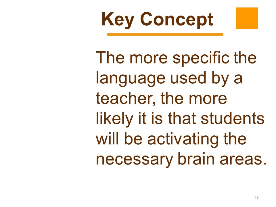 Key Concept The more specific the language used by a teacher, the more likely it is that students will be activating the necessary brain areas.