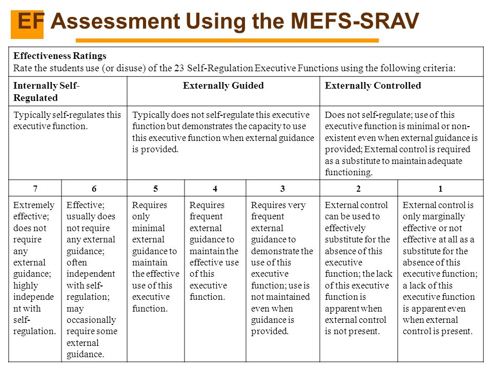 EF Assessment Using the MEFS-SRAV