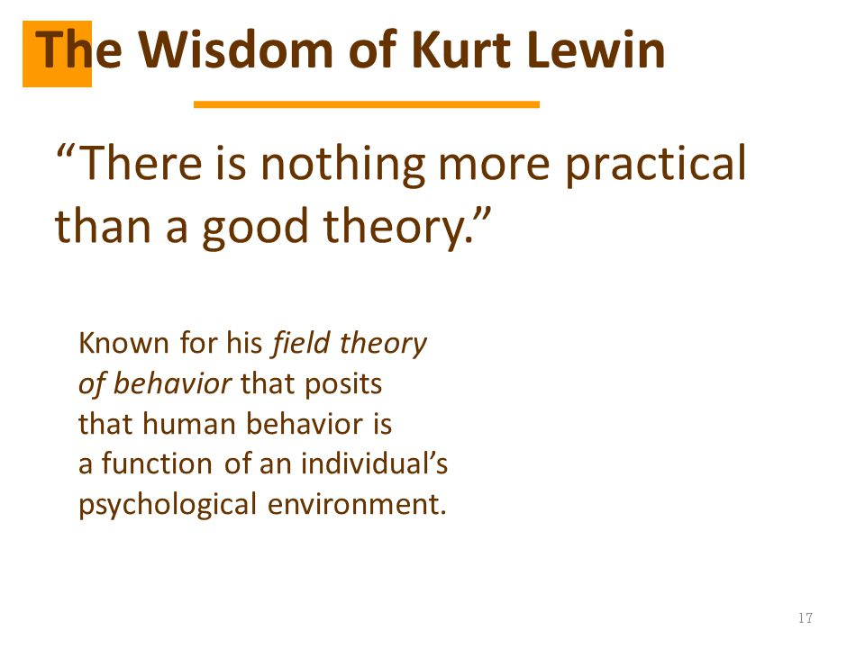 The Wisdom of Kurt Lewin