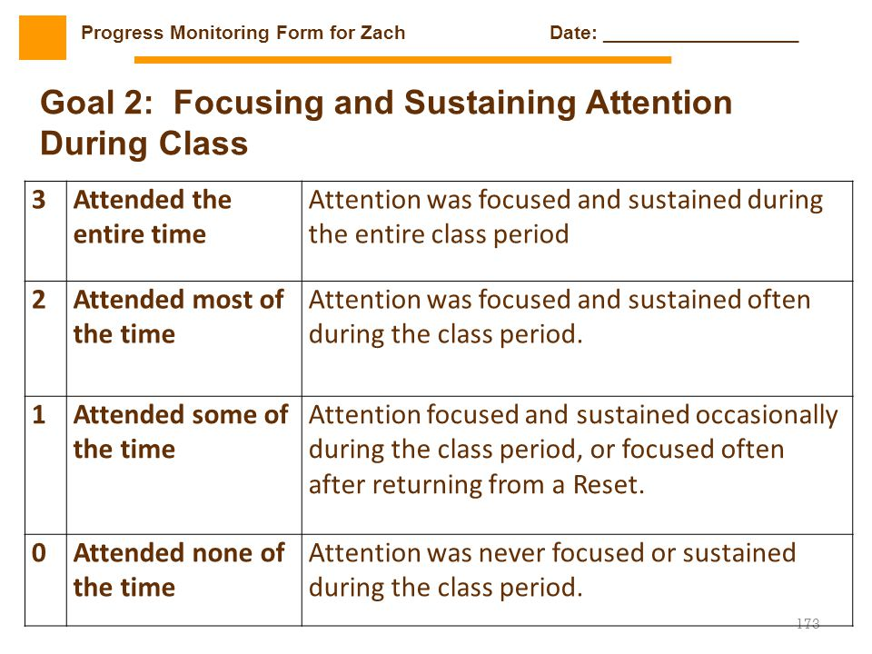Goal 2: Focusing and Sustaining Attention During Class