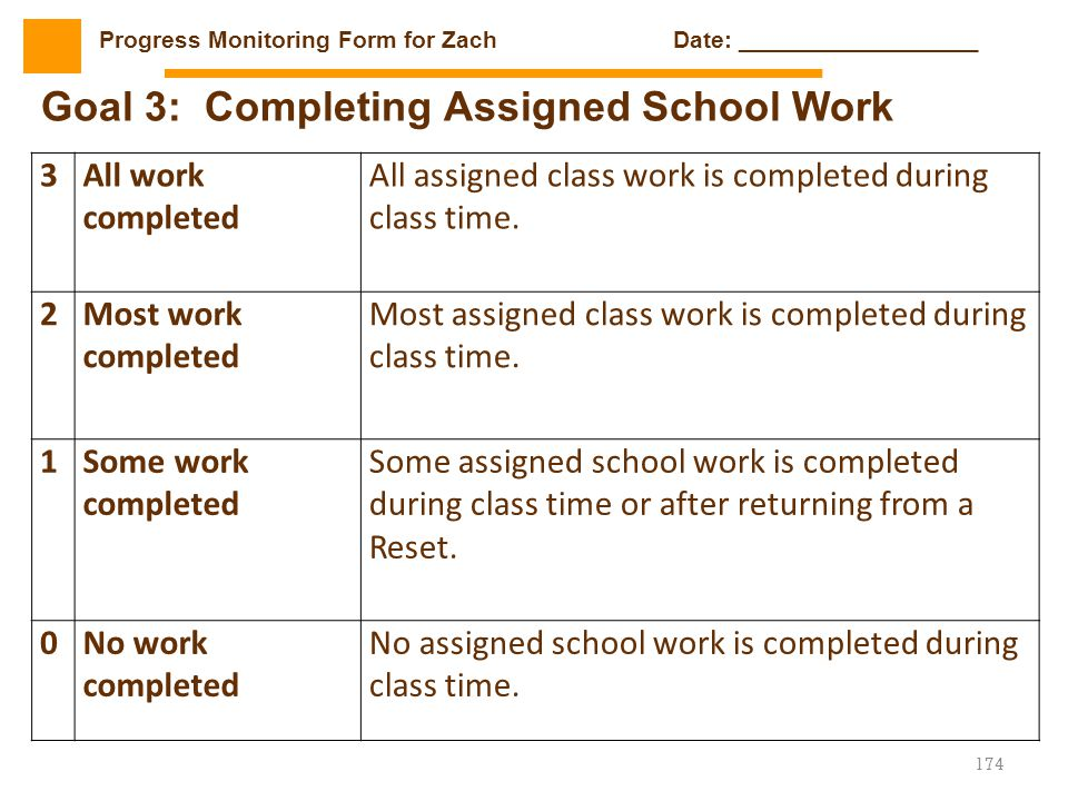 Goal 3: Completing Assigned School Work