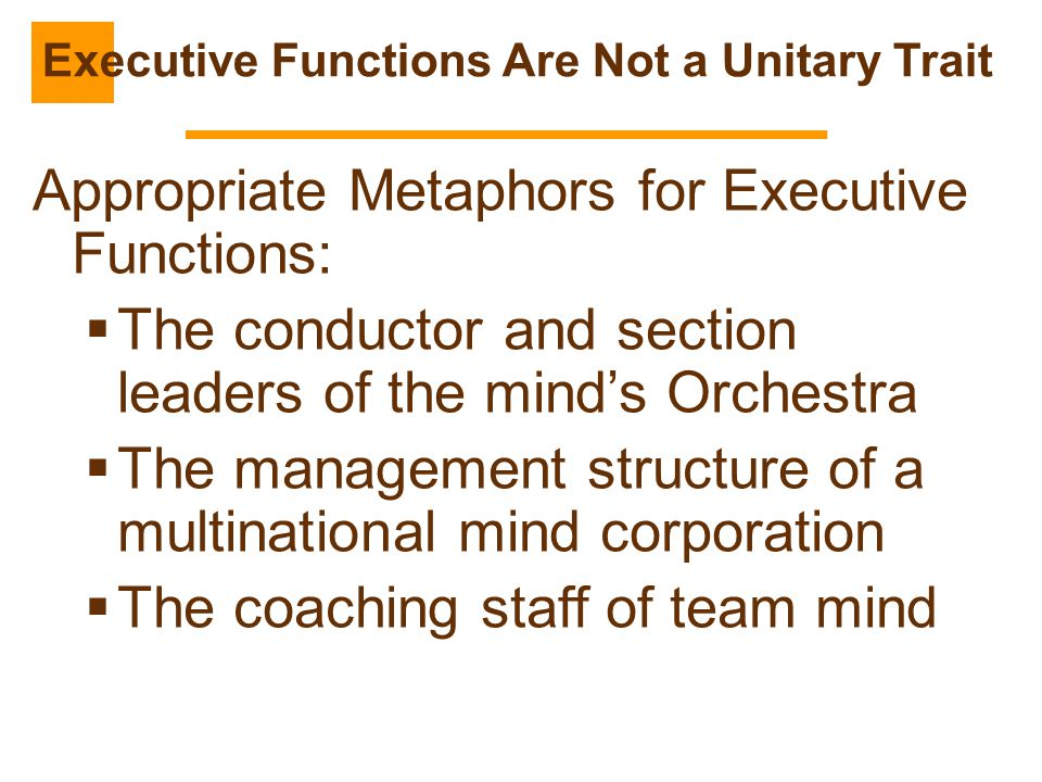 Executive Functions Are Not a Unitary Trait