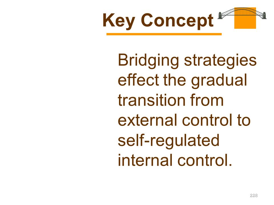 Key Concept Bridging strategies effect the gradual transition from external control to self-regulated internal control.