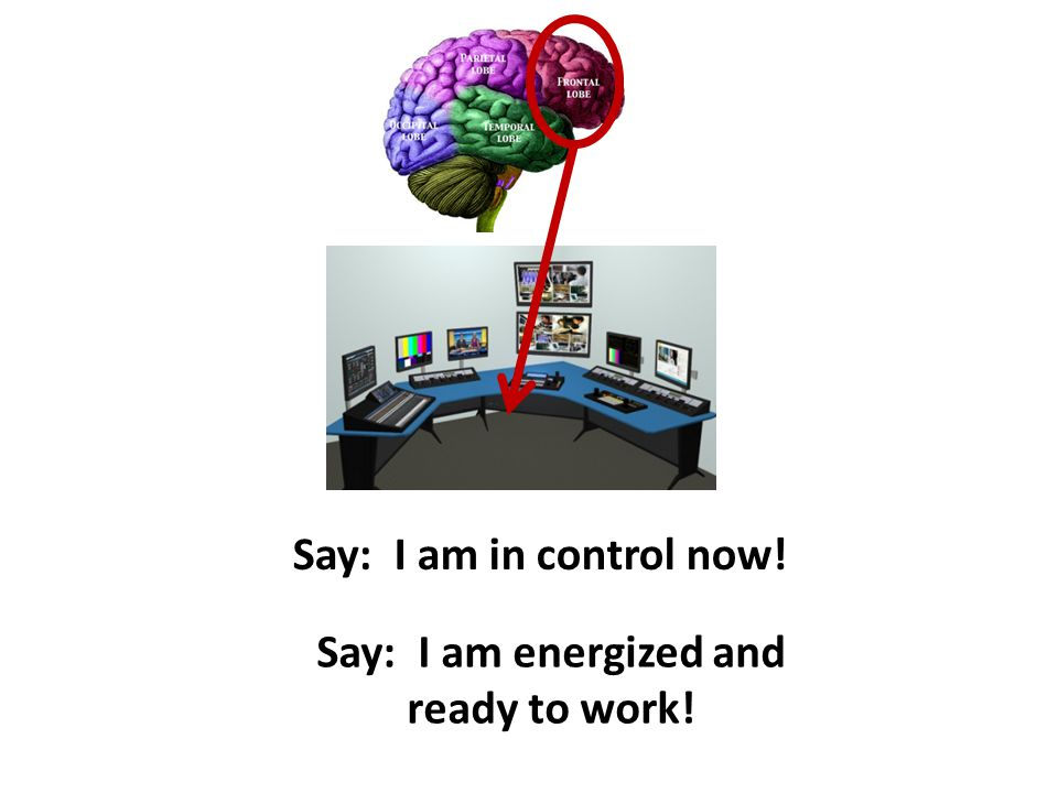 Say: I am in control now! Say: I am energized and ready to work!