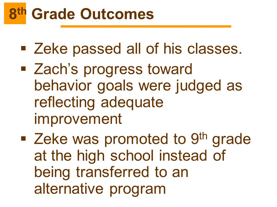 8th Grade Outcomes Zeke passed all of his classes. Zach's progress toward behavior goals were judged as reflecting adequate improvement.
