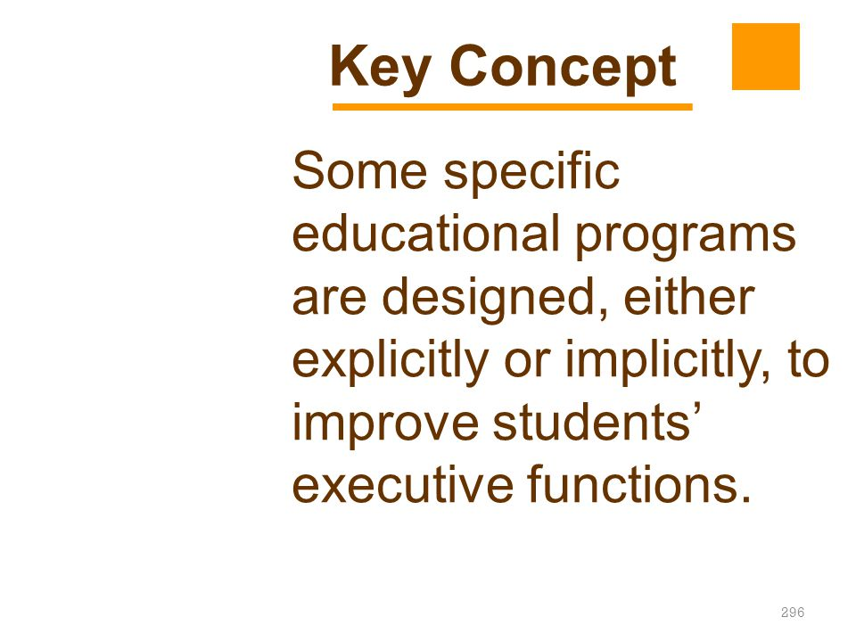 Key Concept Some specific educational programs are designed, either explicitly or implicitly, to improve students' executive functions.