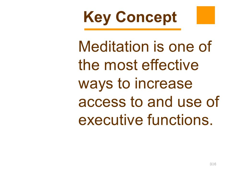 Key Concept Meditation is one of the most effective ways to increase access to and use of executive functions.