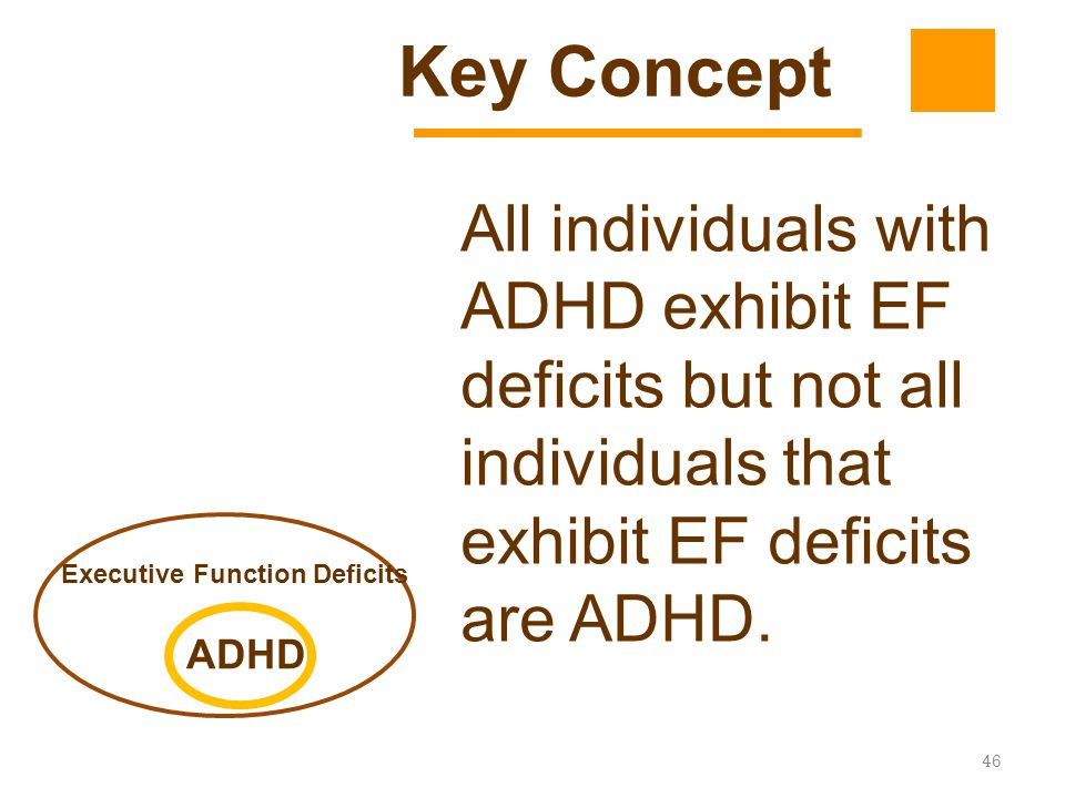 Key Concept All individuals with ADHD exhibit EF deficits but not all individuals that exhibit EF deficits are ADHD.