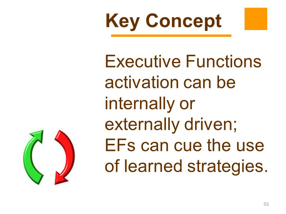 Key Concept Executive Functions activation can be internally or externally driven; EFs can cue the use of learned strategies.
