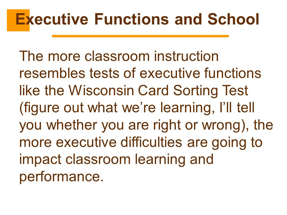 Executive Functions and School