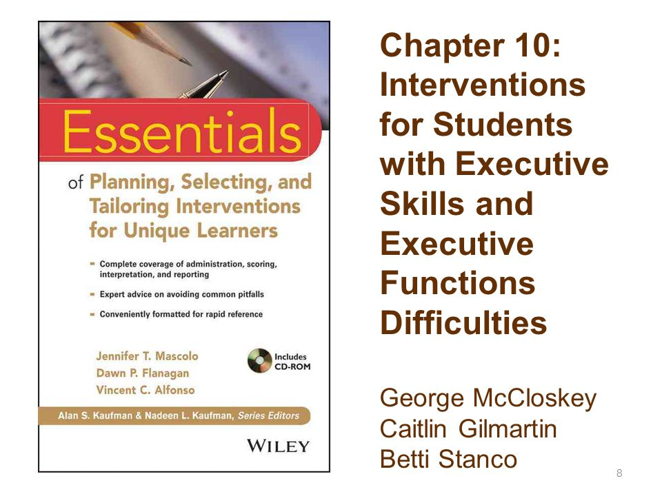 Chapter 10: Interventions for Students with Executive Skills and Executive Functions Difficulties