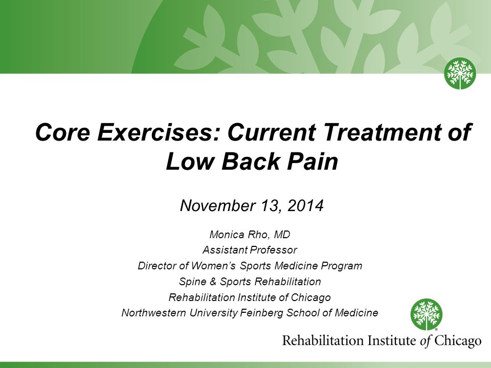 Core Exercises: Current Treatment of Low Back Pain November 13, 2014