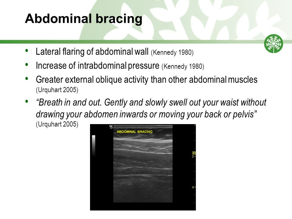 Abdominal bracing Lateral flaring of abdominal wall (Kennedy 1980)