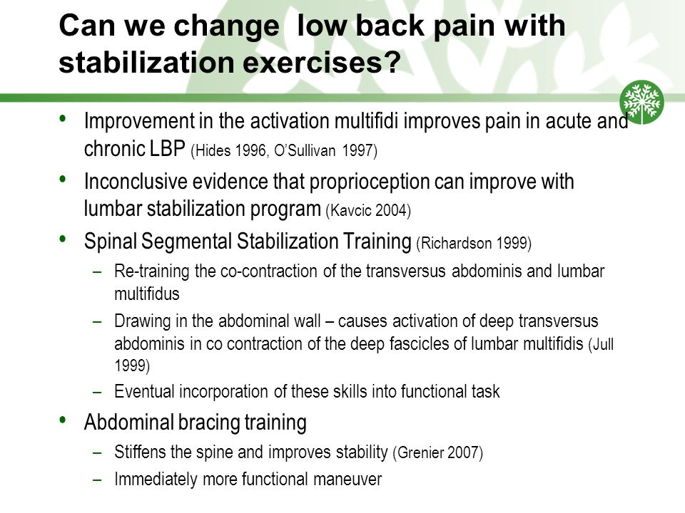 Can we change low back pain with stabilization exercises