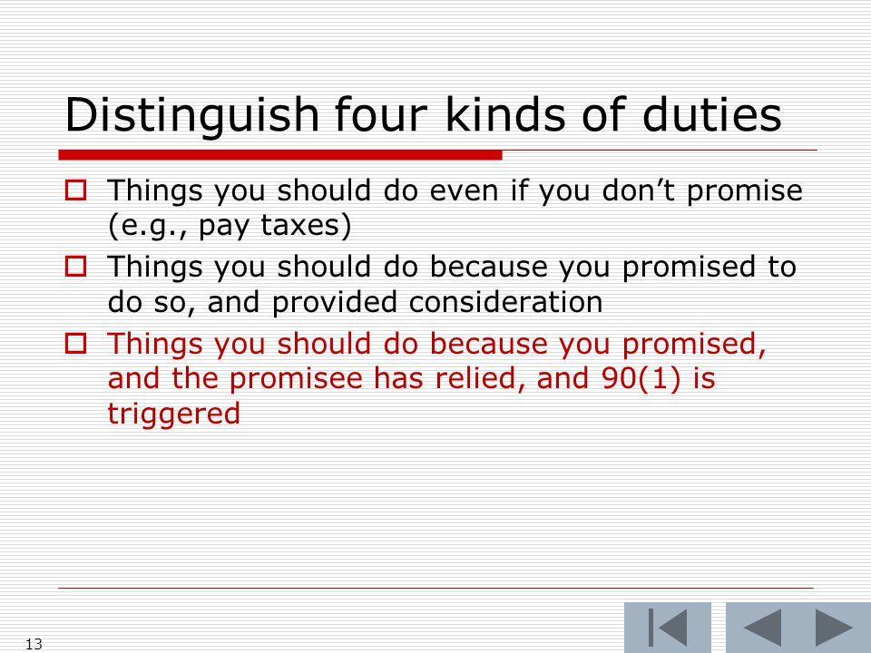 Distinguish four kinds of duties