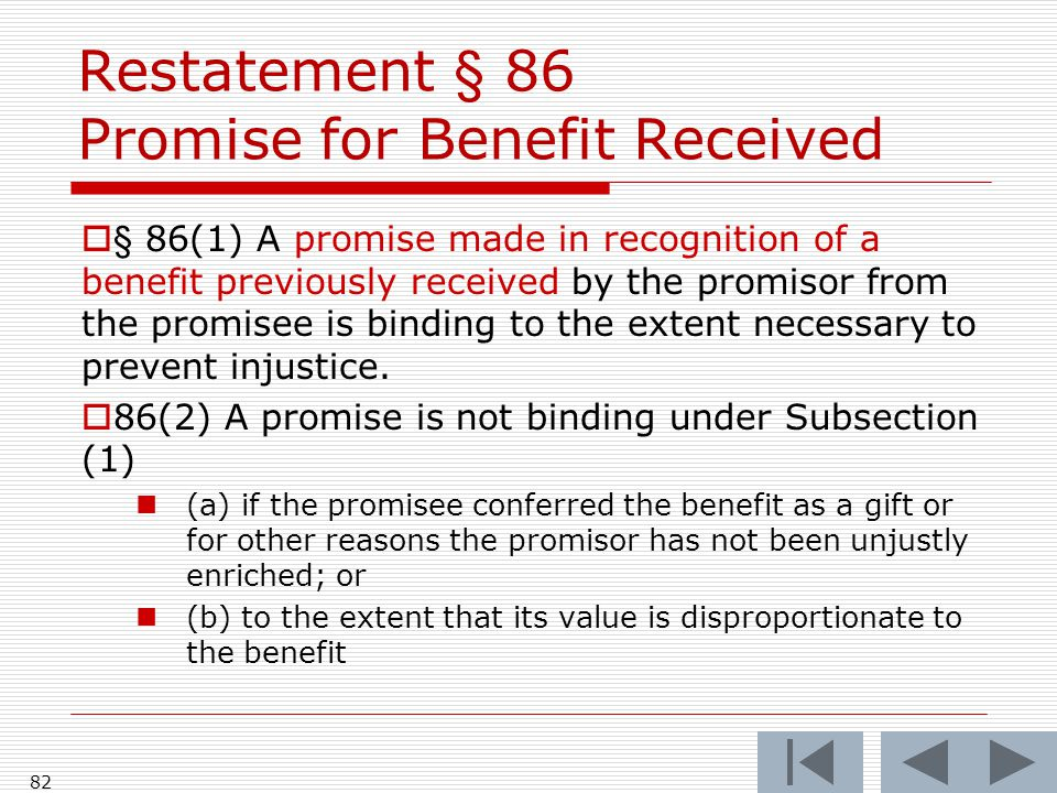 Restatement § 86 Promise for Benefit Received