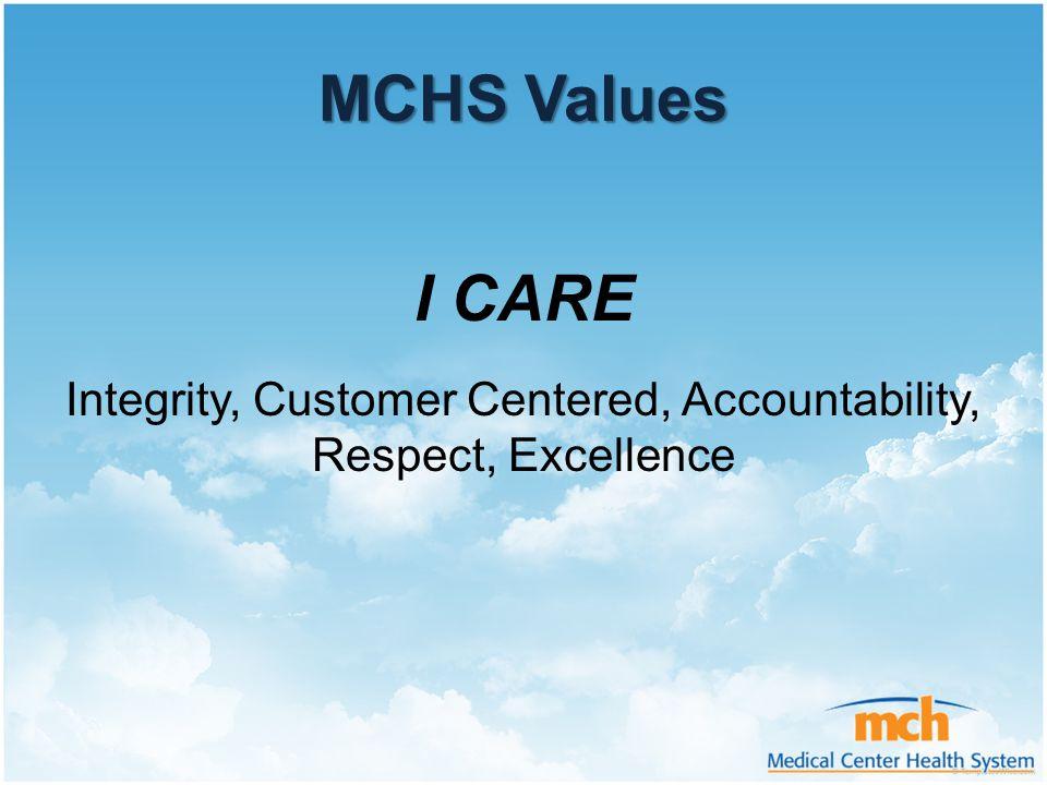 Integrity, Customer Centered, Accountability,