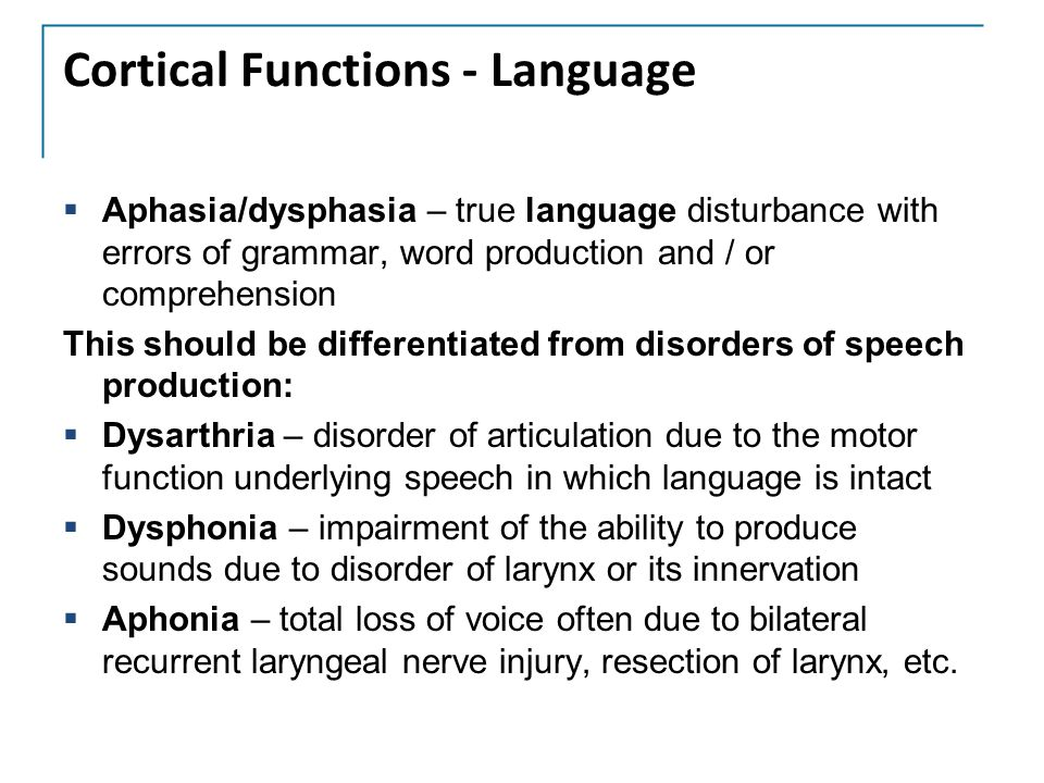 Cortical Functions - Language