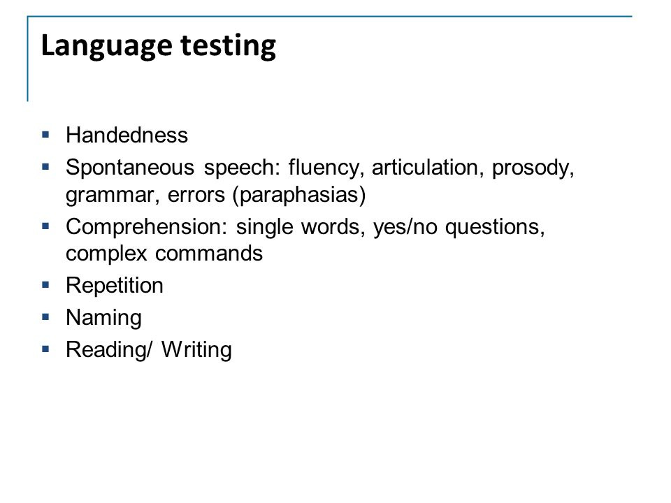 Language testing Handedness