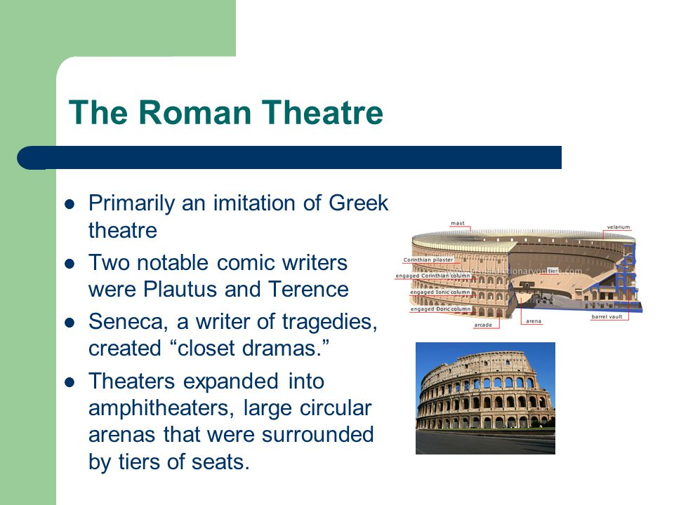 The Roman Theatre Primarily an imitation of Greek theatre