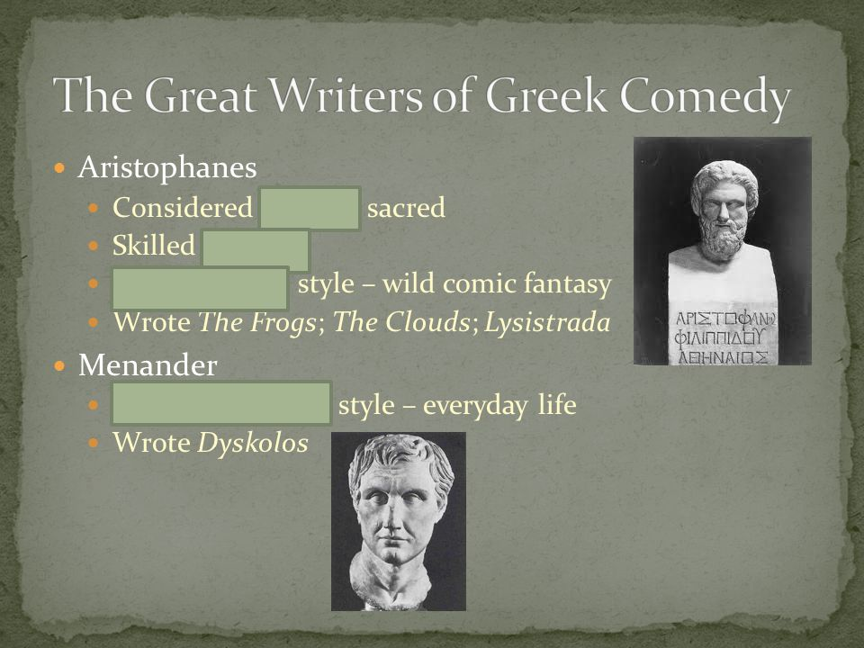 The Great Writers of Greek Comedy