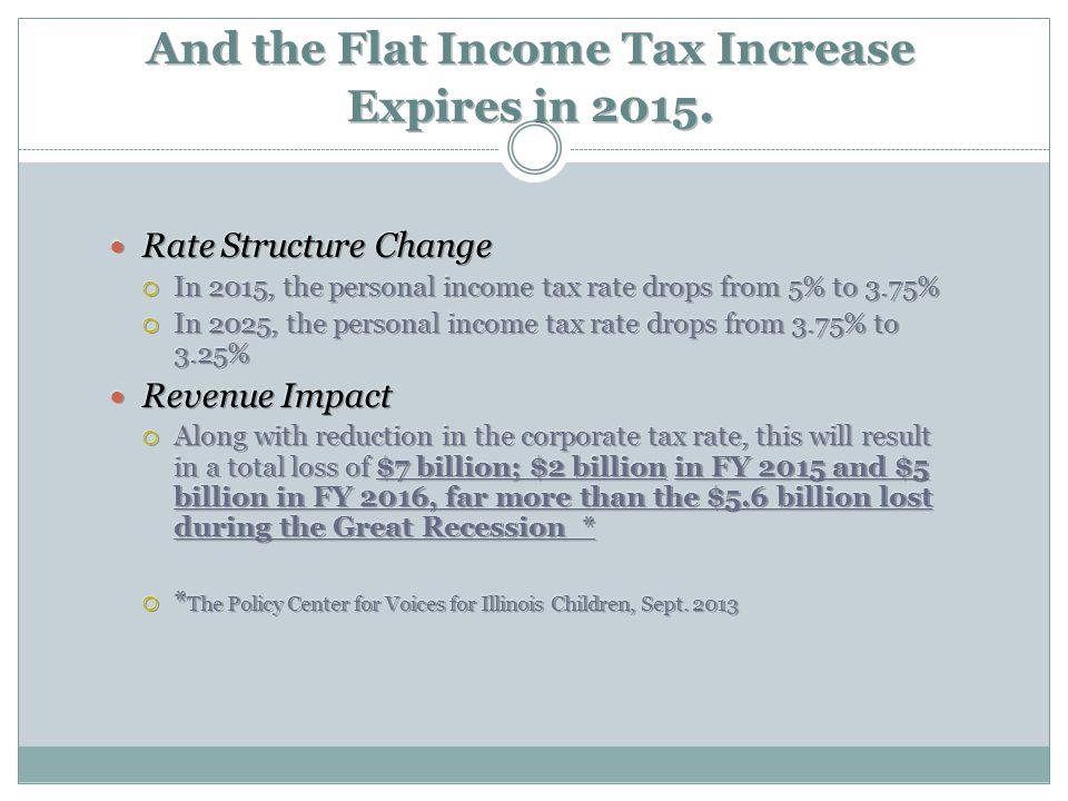 And the Flat Income Tax Increase Expires in 2015.
