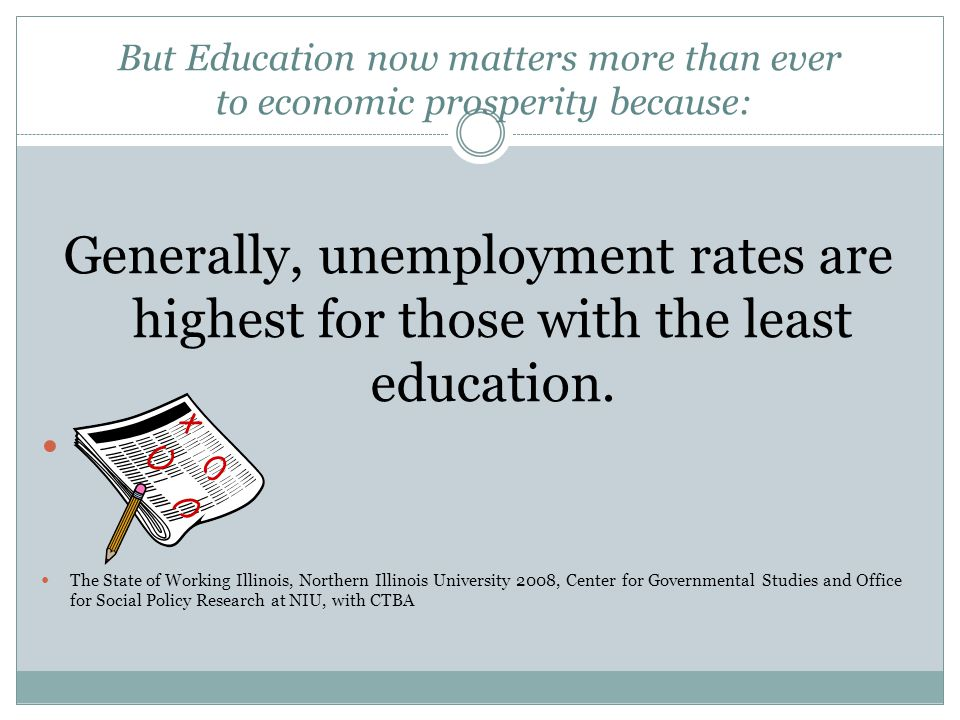 But Education now matters more than ever to economic prosperity because: