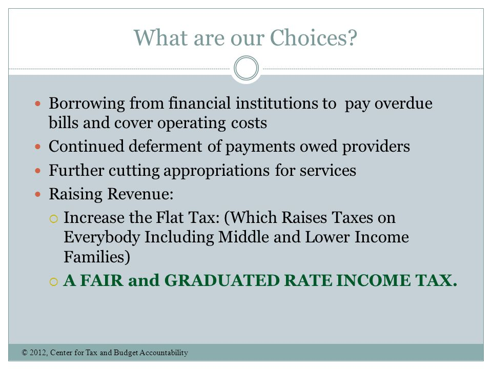What are our Choices Borrowing from financial institutions to pay overdue bills and cover operating costs.