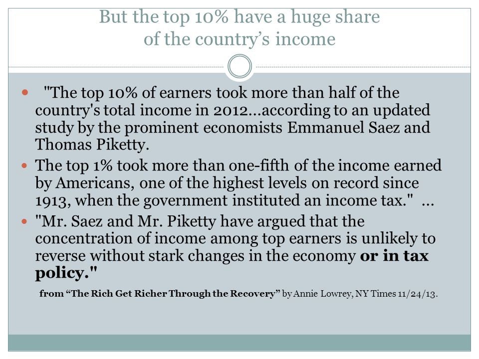 But the top 10% have a huge share of the country's income