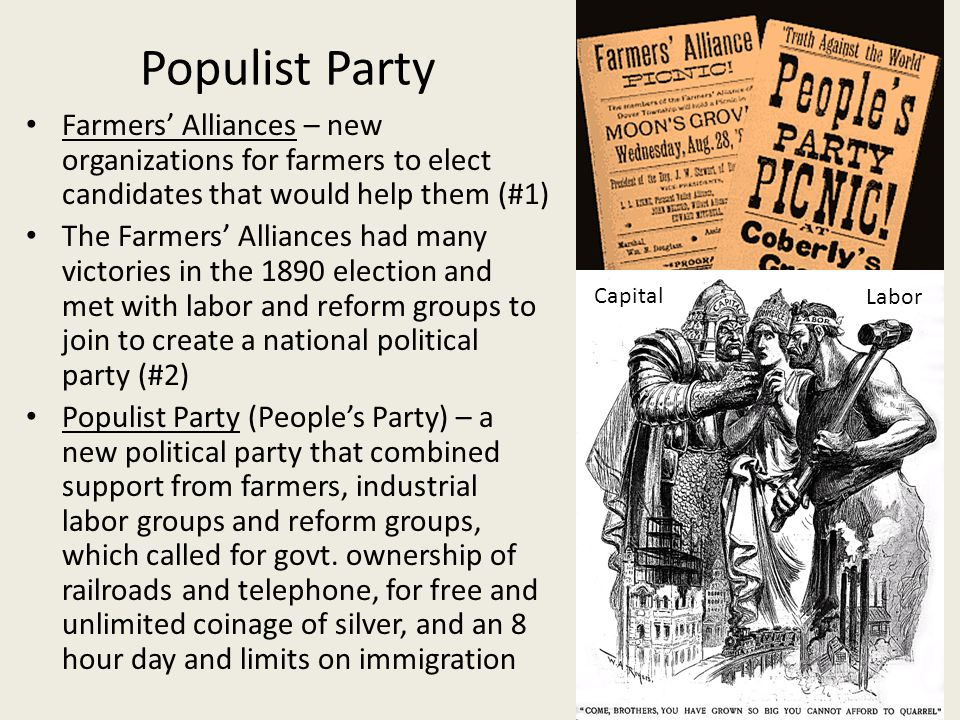 Populist Party Farmers' Alliances – new organizations for farmers to elect candidates that would help them (#1)