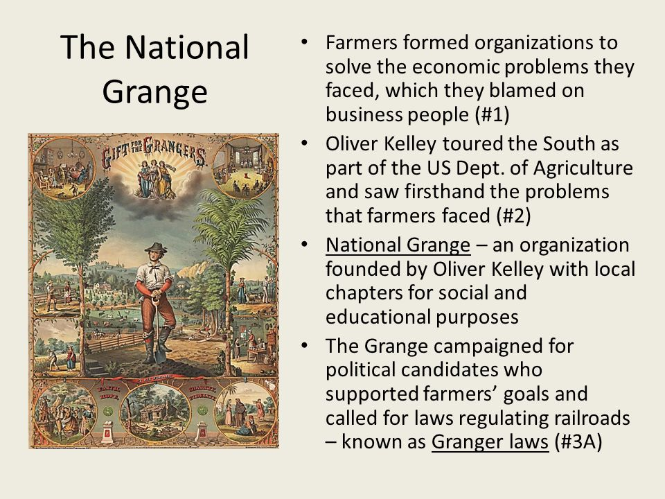 The National Grange Farmers formed organizations to solve the economic problems they faced, which they blamed on business people (#1)