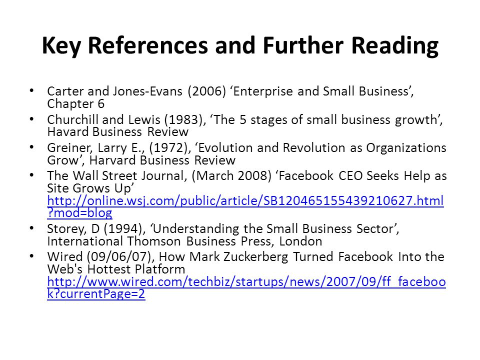 Key References and Further Reading