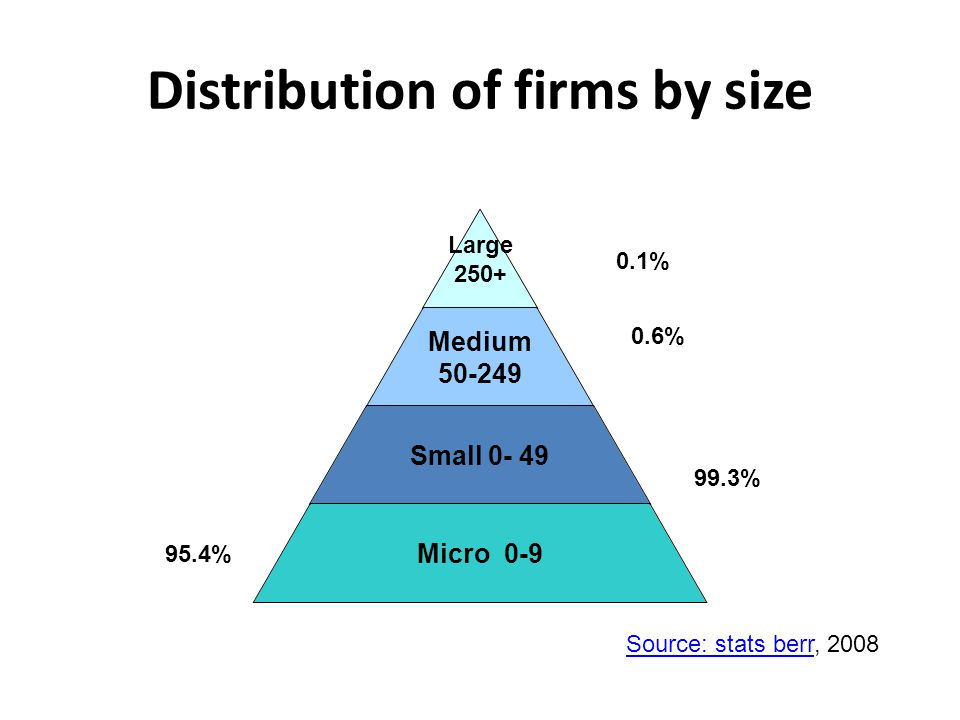 Distribution of firms by size