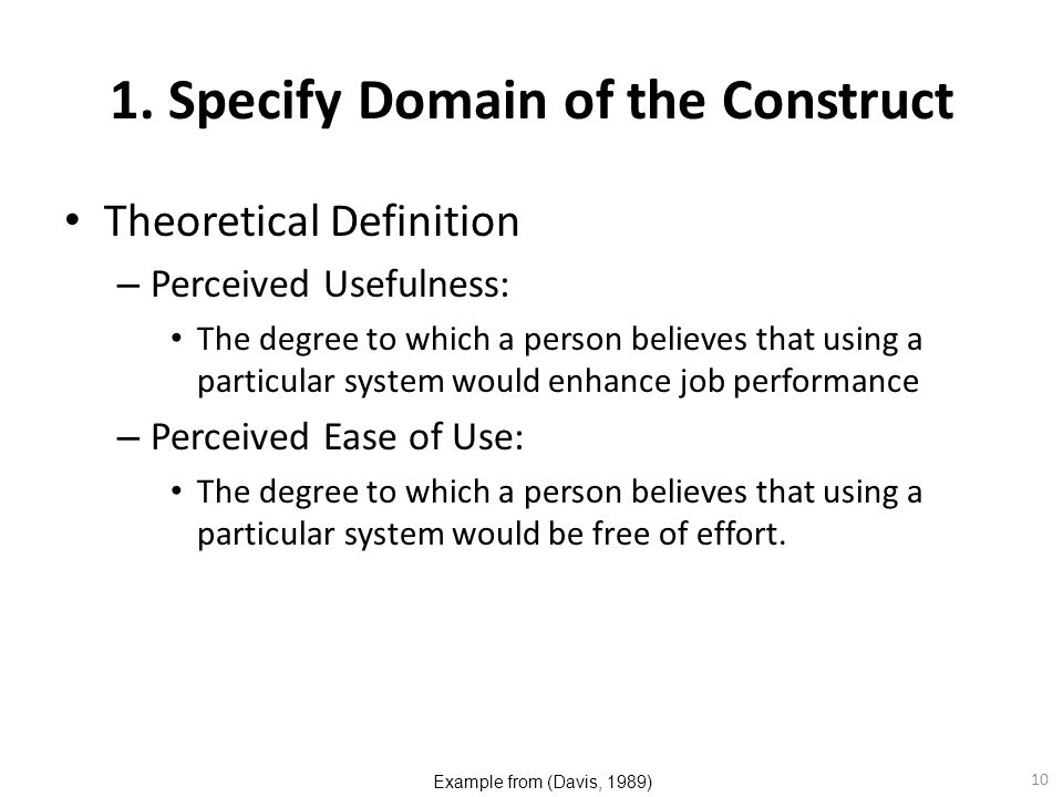 1. Specify Domain of the Construct
