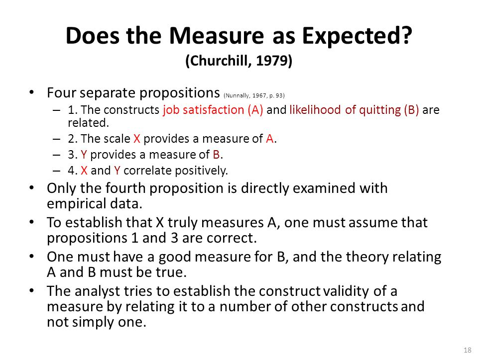 Does the Measure as Expected (Churchill, 1979)