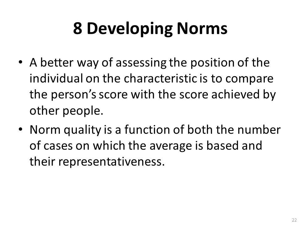 8 Developing Norms
